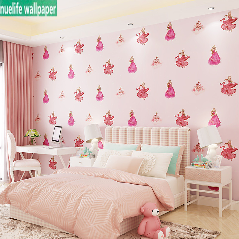 Environmentally friendly non-woven wallpaper kids wallpaper dancing girl room princess room cute cartoon pink wallpaper bedroom