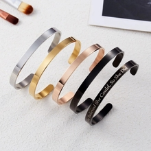 Rinhoo Personalized Stainless Steel Custom Bracelet & Bangle Free Engrave Fashion Cuff Bracelets for Women Lovers Gift Dropship
