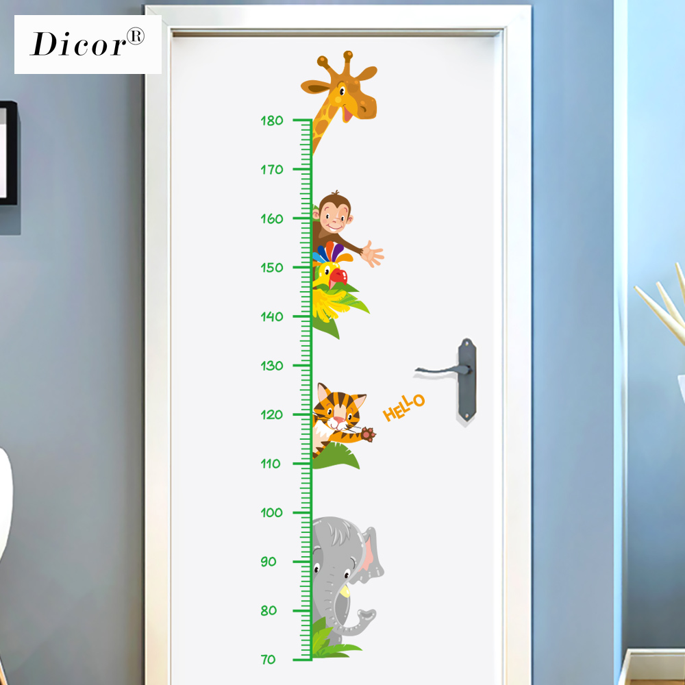 Original Dicor Kawaii Animals Cartoon Wall Stickers For Kids Rooms Baby Zimmer Deko Height Measure Wall Decals Pvc Self Adhesive Wall Stickers Aliexpress