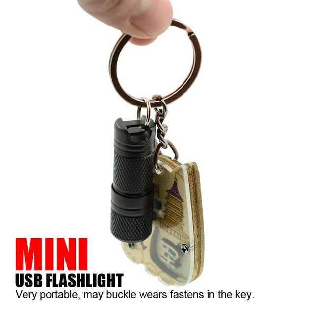 Yeni cep Mini LED el feneri USB şarj edilebilir taşınabilir su geçirmez beyaz işık anahtarlık Torch süper küçük Lanterna pil ile