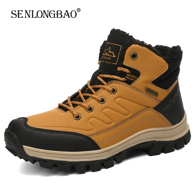 Brand New Winter Men Ankle Boots High Quality Keep Warm Plush Snow Boots Fashion Non-slip Men's Boots Booties Big Size 40-47