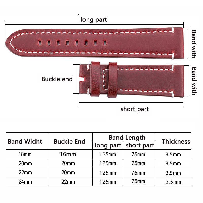 HENGRC أحدث 18 مللي متر 20 مللي متر 22 مللي متر حزام جلد طبيعي حزام حزام دليل الرجال سميكة براون ساعة سوداء حزام مشبك اكسسوارات