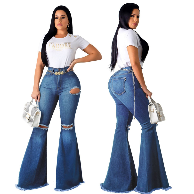 Women Vintage Ripped Denim Flare Jeans Boyfriend Jean Ladies High Waist Skinny Bell Bottom Jeans Pants Autumn Wide Leg Mom Jeans