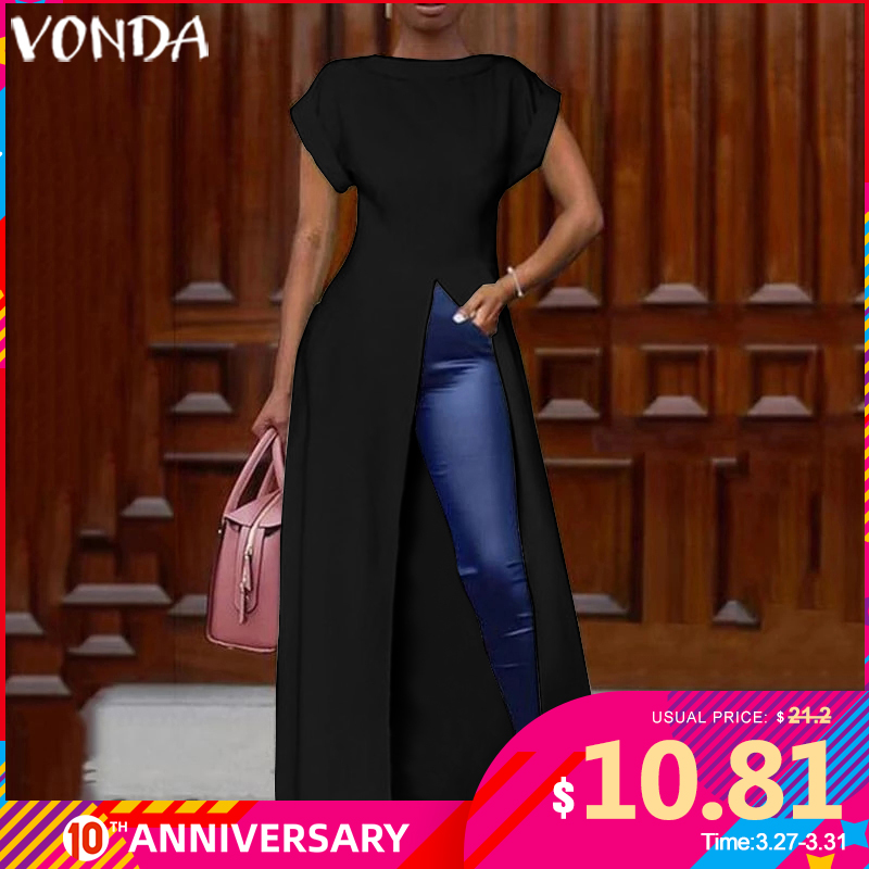 VONDA Summer <font><b>Dress</b></font> Women <font><b>Sexy</b></font> Split Hem Maxi <font><b>Dress</b></font> Long Party Blouse 2020 Female Office Ladies Sundress Casual Vestido <font><b>Plus</b></font> <font><b>Size</b></font> image