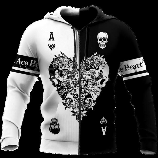 POKER ACE HEART SKULL 3D HOODIE