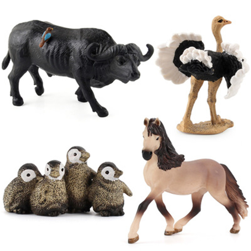 Figuras de acción de animales salvajes para niños, modelo de simulación de animales, juegos de animales, pingüino de avestruz, buffaloToy, juguete educativo, regalo