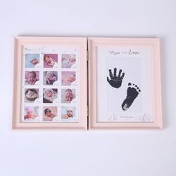 Newborn Baby Hand Foot Ink Pad Print Infants Full Moon Age Growth Photo Frame AXYA