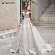 Vestido De Noiva Sweetheart Applicaties Satin Wedding Dress Off Shoulder Lace Up A lijn Hof Trein Bechoyer N242 Bruid Gown
