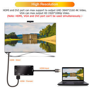Image 5 - مقسم الوصلات البينية متعددة الوسائط وعالية الوضوح (HDMI) إلى HDMI DVI VGA محول صوت الذهب مطلي جاك 4K ل كمبيوتر محمول HDTV PS3 متعدد المنافذ 4  في 1 محول HDMI