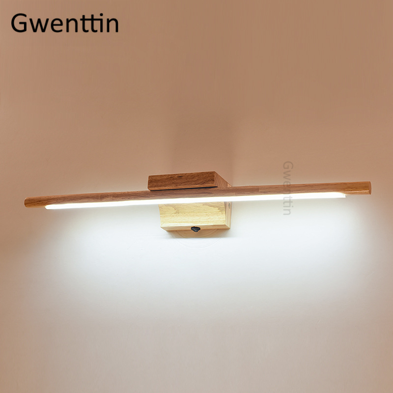 Nordic Wood Wall Lamp Led Mirror Lights for Bathroom Bedroom Modern Wooden Wall Sconce Light Fixtures Indoor Lighting Luminaire-in LED Indoor Wall Lamps from Lights & Lighting on Gwenttin Lighting Store