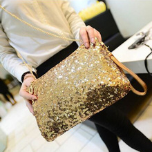 Women Ladies Glitter Sequins Handbag Sparkling Evening Envelope Clutch Bag Gold Party Purse Luxury Crossbody Chain Messenger Bag