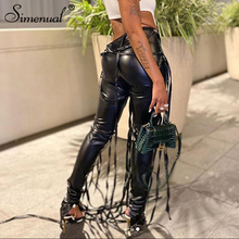 Simenual Midnight Faux PU Leather Skinny Pants Ribbon Criss Cross Women High Waist Pencil Trousers Fashion Fall 2020 Clothing
