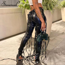 Simenual Полночь узкие штаны из искусственной кожи брюки лентой