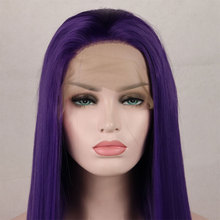 Wig Synthetic-Hair Lace-Front Heat-Resistant-Fiber Glueless Purple-Color Bombshell Straight