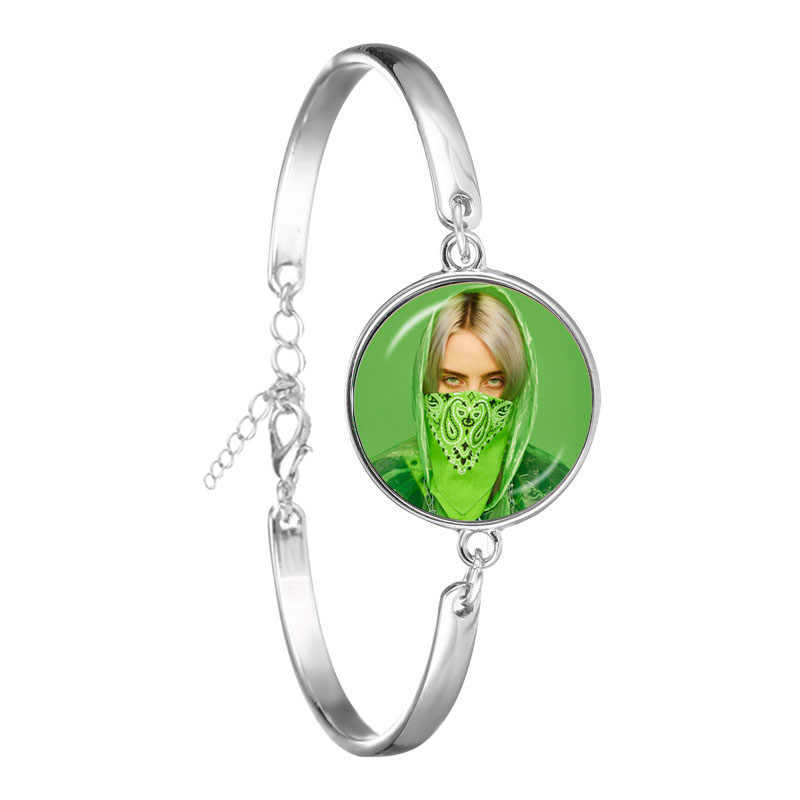 Popular Young Singer Billie Eilish Bracelet Art Picture Hip-hop Music 18mm Glass Cabochon Bangle Jewelry For Music Fans Gift