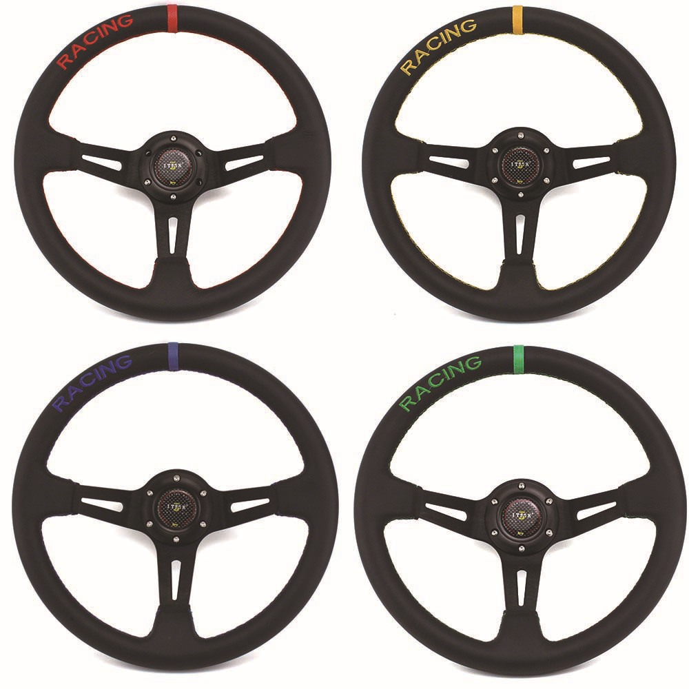Universal mugen 14inch 350mm Deep Dish Real Leather Red Drifting Rally Race Car Racing Steering Wheel image
