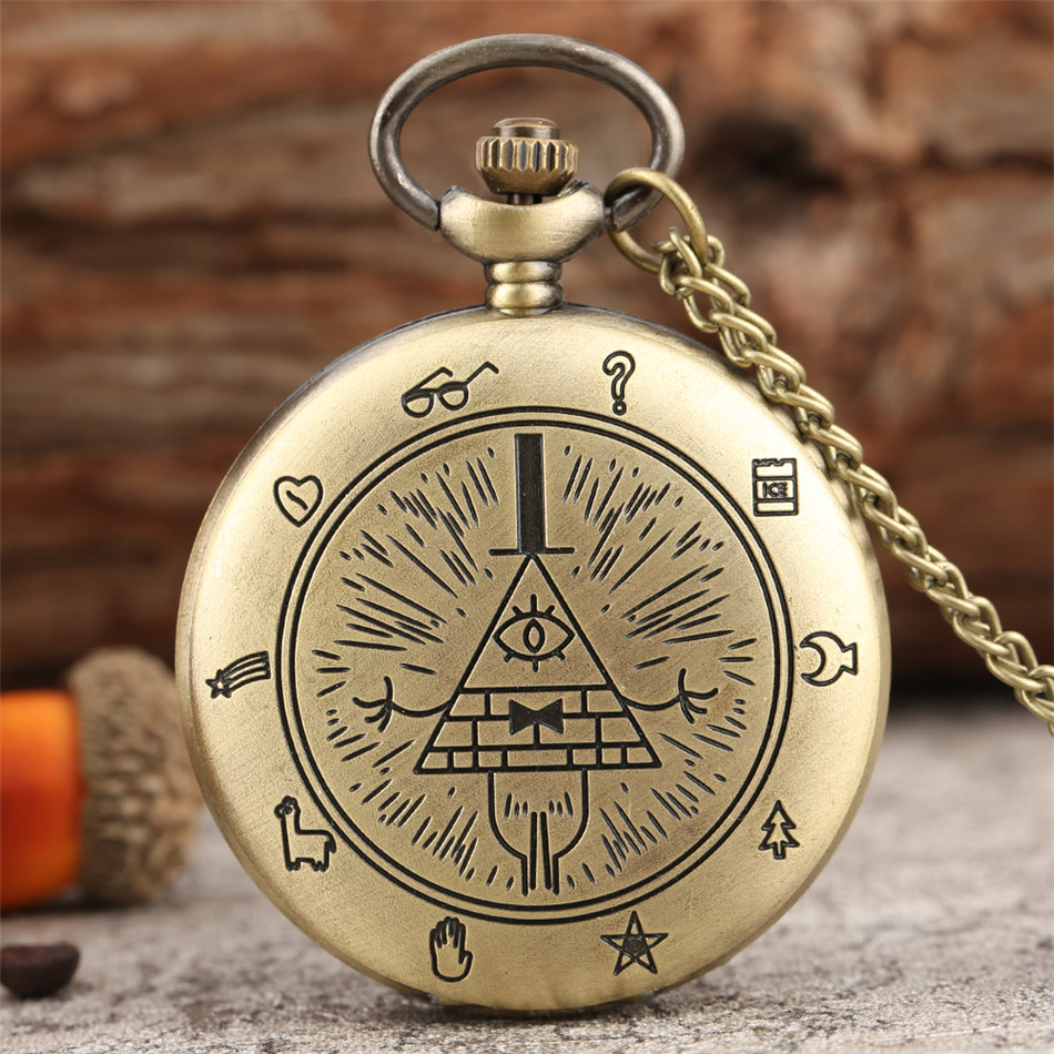 Retro Bronze / Black / Retro Grey Bill Cipher Gravity Falls Theme Quartz Pocket Watch Exquisite Necklace Watch Cool Pendant Gift