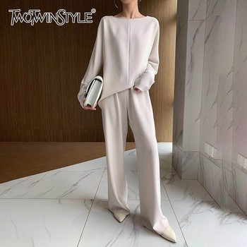 TWOTWINSTYLE Solid Casual Women Two Piece Set O Neck Long Sleeve High Waist Wide Leg Pants Female Suits 2019 Fashion Autumn New
