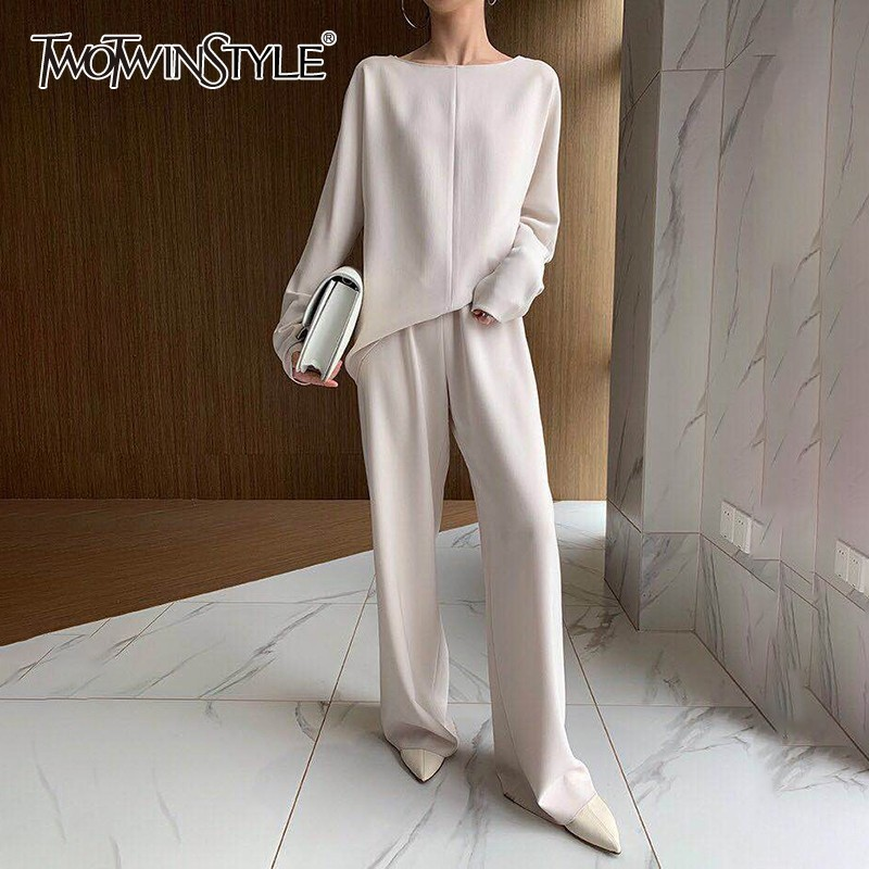TWOTWINSTYLE Solid Casual Women Two Piece Set O Neck Long Sleeve High Waist Wide Leg Pants Female Suits 2020 Fashion Autumn New