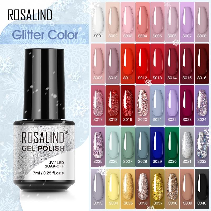 Гель-лак ROSALIND полуперманентный для базового и топового покрытия ногтей, серия красный и желтый, для маникюра