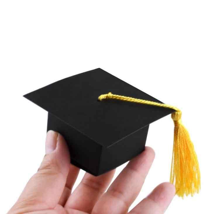 لتقوم بها بنفسك الأسود طبيب قبعة قبعة كاندي صندوق التخرج الاحتفال حفلة الديكور الحلوى لصالح صناديق هدية تخرج عبوة تعبئة