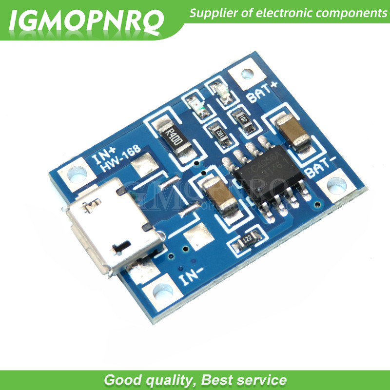 10pcs 5V 1A Micro USB 18650 Lithium Battery Charging Board Charger Module+Protection Dual Functions TP4056