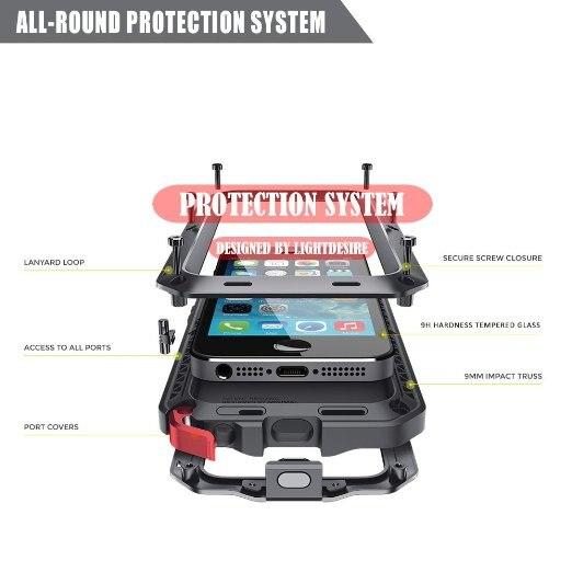 Luxe Doom Armor Vuil Shock Waterdichte Metal Aluminium Telefoon Tassen Case Voor Iphone 7 11 6 6S 8Plus xs Max Xr Cover + Gehard Glas 4
