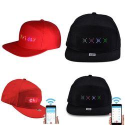 Männer Frauen Bluetooth LED APP Gesteuert Baseball Hut Nachricht Display Hip Hop Cap