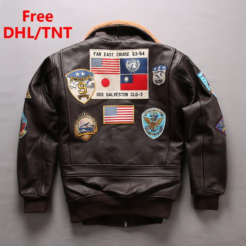 2020 Mens Pilot Jacket Tom Cruise Top Gun Air Force Cow Coats 100% Real Multi-label Thick Cowhide Winter Free DHL/TNT