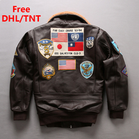 2020 Mens Pilot Jacket Tom Cruise Top Gun Air Force Cow Coats 100% Real Multi label Thick Cowhide Winter Free DHL/TNT