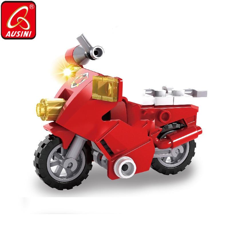 AUSINI Fire Brigade Building Blocks Bricks Creator City Motorcycle Toys For Children Firefighter Figures Plastic Kids Playthings