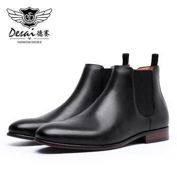 DESAI Winter Genuine Leather Men Boots Slider Work Casual Shoes Male Business Fashion Dress - discount item  45% OFF Men's Shoes