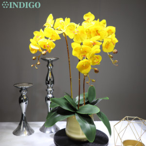 Image 3 - Witte Orchidee Bloem Arrangement 90Cm (3 Orchidee + 3 Blad + Pot Optioneel) real Touch Bloem Bruiloft Decoratie Event Bloemist