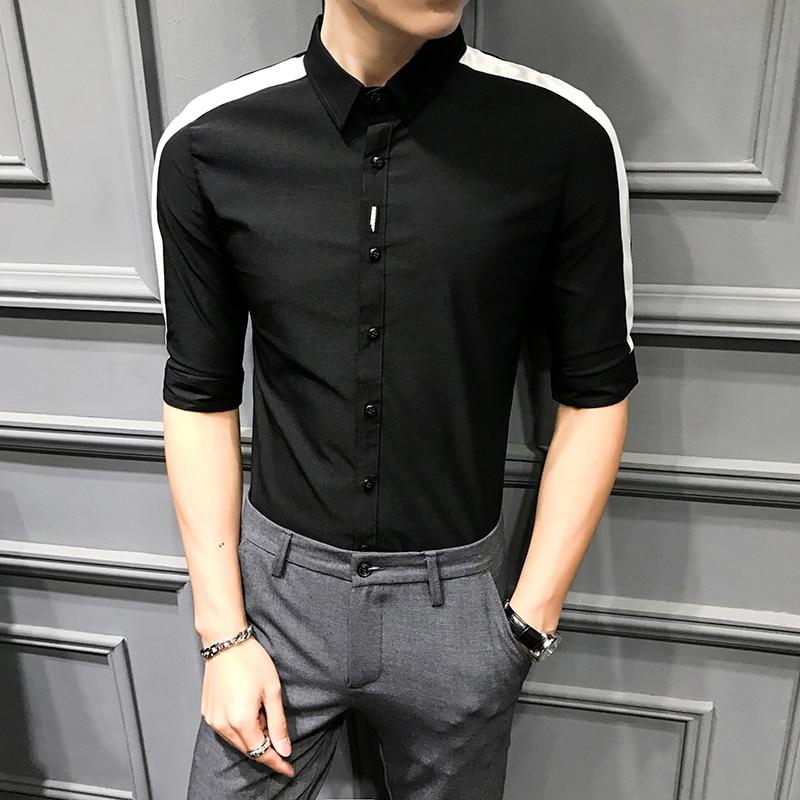 Solid Color Streetwear Social Clothing High Quality Summer Casual Men Shirt Camisa Masculina Slim Fit Half Sleeve Dress Shirts