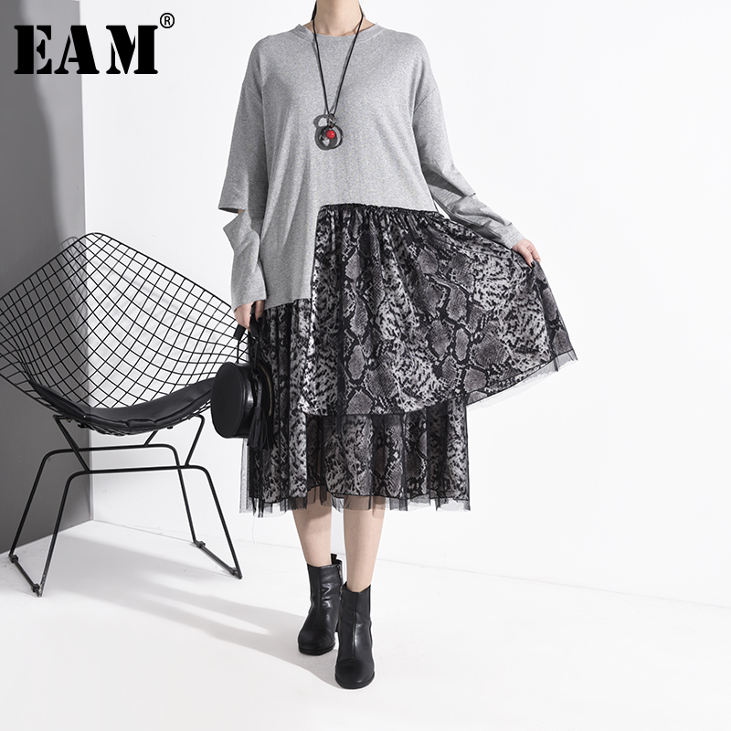 [EAM] Women Gray Pattern Mesh Split Big Size Dress New Round Neck Long Sleeve Loose Fit Fashion Tide Spring Autumn 2020 1R406