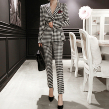 Brand Designer Korean Style Two Piece Set for Women Print Houndstooth Blazer and Pants with Pocket OL Work Office 2 Piece Set недорого