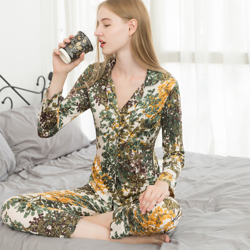2pcs/set Autumn 2019 New Mulberry Silk Sleepwear Suit Women's Loose Large Size Long Sleeve Sericulture Silk Home Clothing 9048