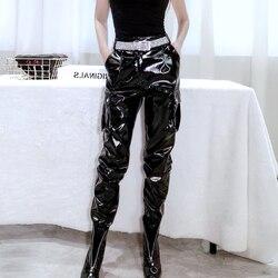 Glossy patent pu leather pants female Autumn new bright leather pants wear wa thin high waist locomotive wild casual pants F42