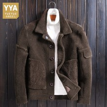 Shearling Reversible Real Fur Jacket Men Luxury Winter Single Breasted Warm Oute