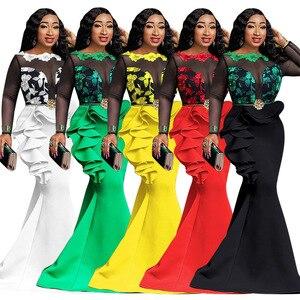 Image 2 - Kadınlar için afrika elbiseler bayanlar uzun parti Mermaid elbise seksi şeffaf ağ Ruffles akşam Bodycon Maxi elbise trompet