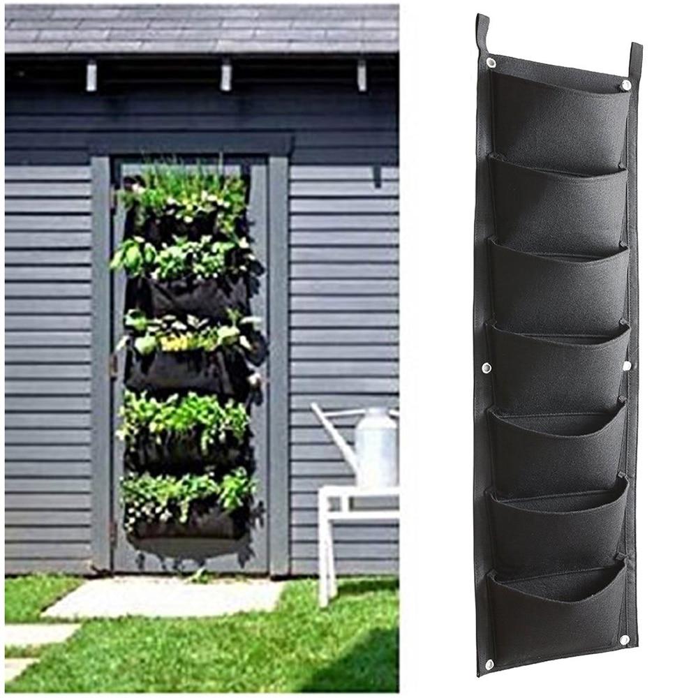 100*30cm Vertical Garden Planter Wall-mounted Planting Flower Grow Bag 7 Pocket Vegetable Living Garden Bag Home Supplies D30