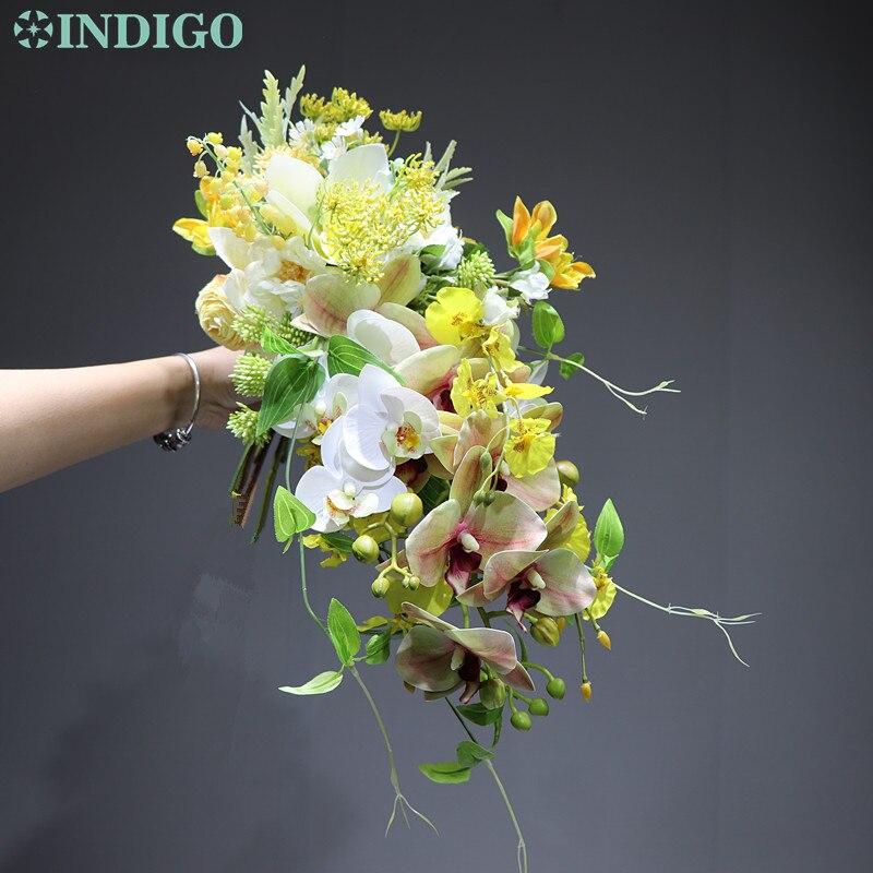 INDIGO conçu-goutte d'eau forme Bouquet orchidée mariage mariée tenant jaune fleur Arrangement Cymbidium livraison gratuite