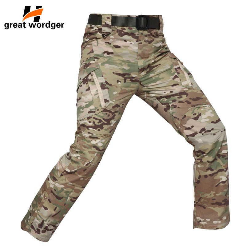 Tactical kamuflaż wojskowy Sport SWAT spodnie Cargo wodoodporne Ripstop turystyka męska 5XL spodnie typu casual wiosna jesień