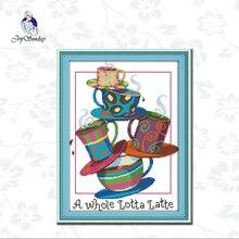 Joy Sunday,Five cup,cross stitch embroidery kit,11CTor14CT Printed Fabric,cross kits needlework sets