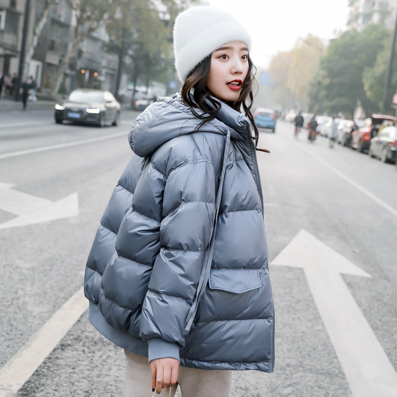 Winter Women   Down   Jacket 2019 New Fashion Loose Hooded Outwear Solid Color Large Size   Coat   Women White Duck   Down   Jacket XIN024