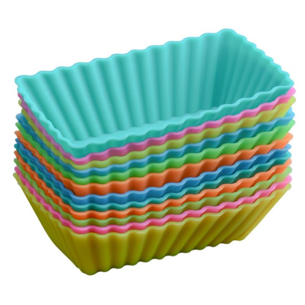 10PCS Baking Cup Liner Baking Molds Round Square Shape Silicone Cupcake Mould Maker Mold Tray DIY Cake Decorating Tools