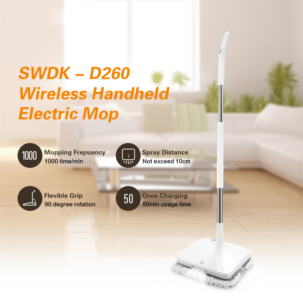 Hot Sale SWDK-D260 Handheld Wireless Electric Wiper Floor Washers Wet Mopping LED Light Cleaning Machine Brush Floor Washer