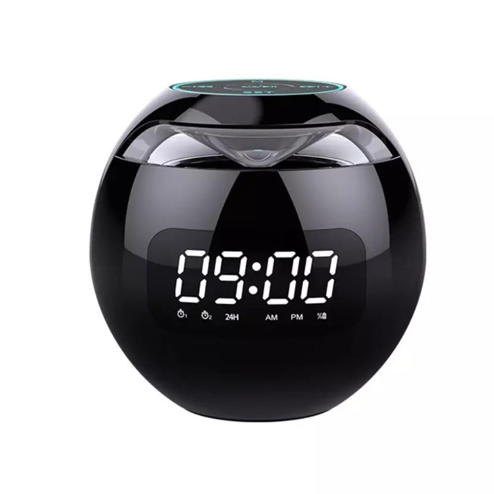 Mini caixa de som sem fio bluetooth alto-falante com display led relógio despertador alta fidelidade tf cartão mp3 music play