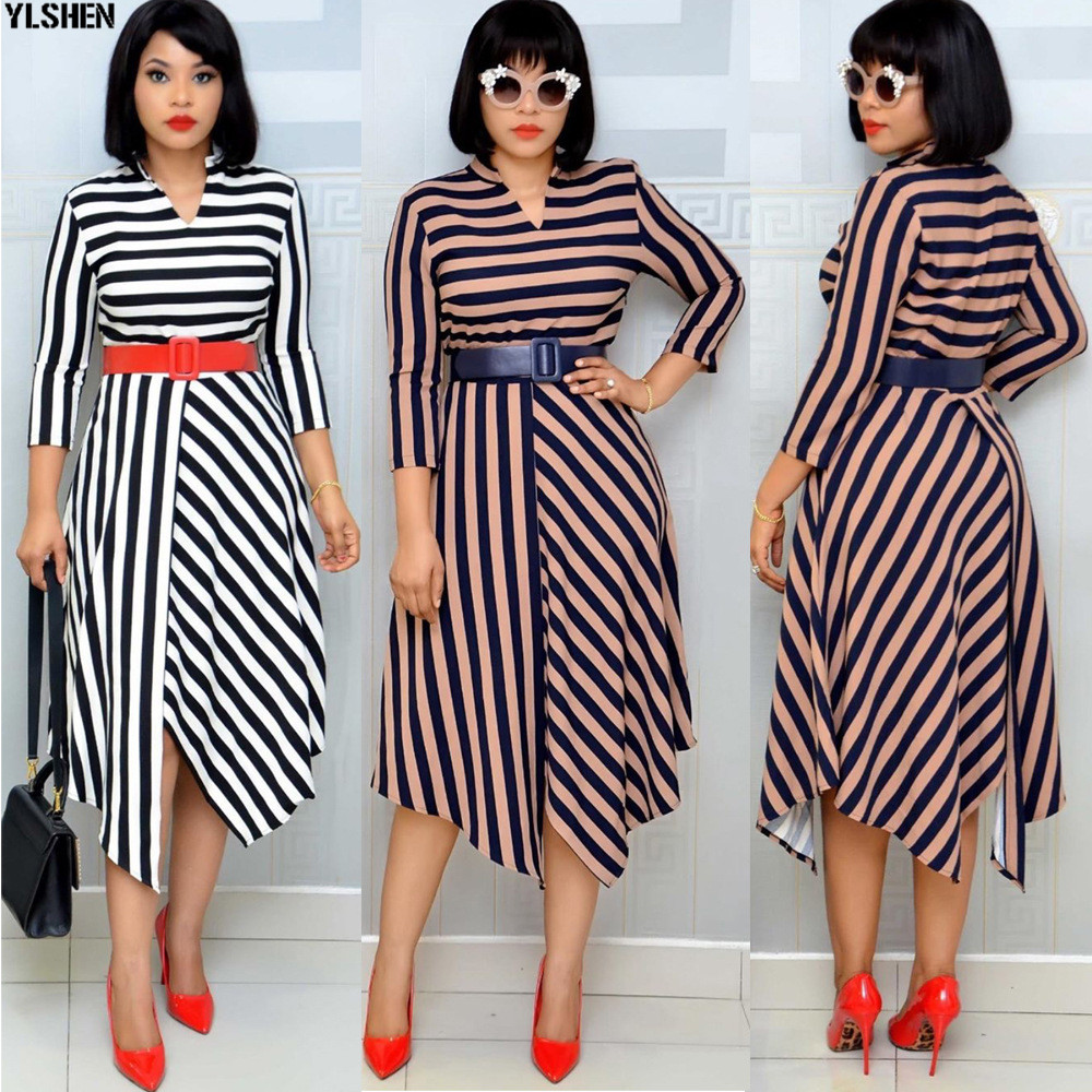 African Dresses For Women Stripe Africa Clothing Ankara Long Dress High Quality Length Fashion African Dress For Lady With Belt 28