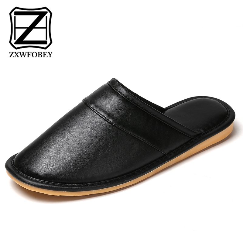 ZXWFOBEY Warm Unisex Slippers Leather Womens Men Winter Indoor Outdoor Home Shoes Memory Foam Slippers Mules Soft